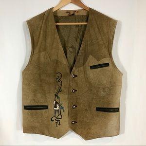 Vintage Alphorn Men's Tan Leather Waistcoat Vest